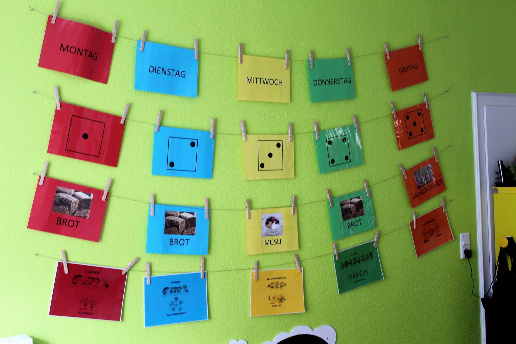 Kindergarten Wochenplan für Kinder