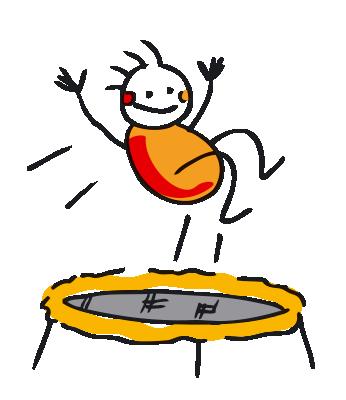 Charly's Figur springt Trampolin