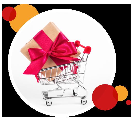 Rundes Bild eines Einkaufswagens mit großem Geschenk drin