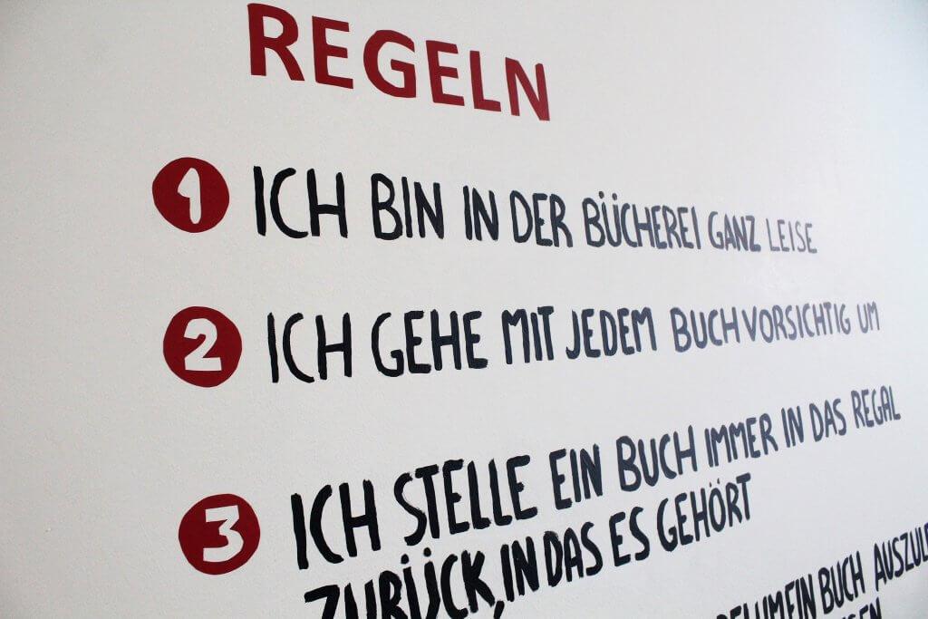 Bücherei Regeln als Wandbild